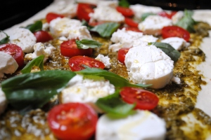 pesto & goats cheese tart